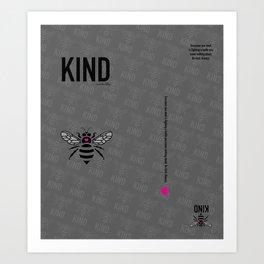 Be Kind - grey Art Print