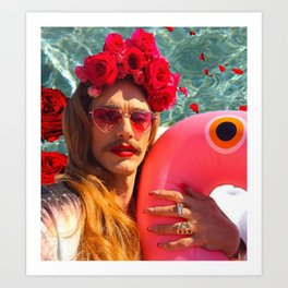 Selfies By The Pool James Franco Fan Art Art Print