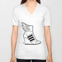 sneaker V-neck T-shirts featuring ADIDAS WINGED WEDGE SNEAKER BOOTIE by Bryan Hollingsworth