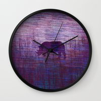 rhino Wall Clocks featuring Rhino by Inmyfantasia