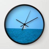 sailboat Wall Clocks featuring Sailboat by MorganLoriPhoto