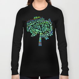Vibrant Pastel on Suede Tree Ring Abstract by annmariescreations Long Sleeve T-shirt
