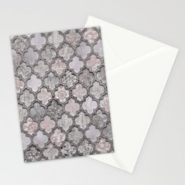Blush And Grey Moroccan Tiles  Stationery Cards
