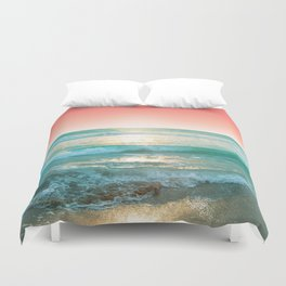 Aqua and Coral, 1 Duvet Cover
