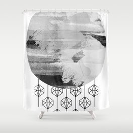'Planets' minimal styled geometrc design and abstract painting Shower Curtain