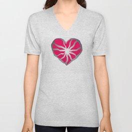 Broken Heart Fuchsia Unisex V-Neck