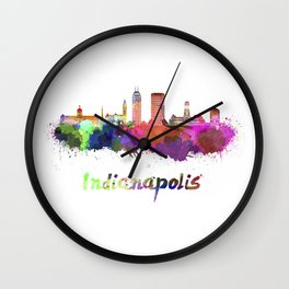 Indianapolis skyline in watercolor Wall Clock