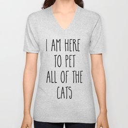 Pet All The Cats Funny Quote Unisex V-Neck