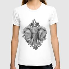 Elephant & Poppies  Womens Fitted Tee MEDIUM White