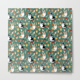 Happy Corgis In Fall Forest Searching For Mushrooms I - Teal  Metal Print