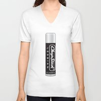lesbian V-neck T-shirts featuring CHAPSTICK LESBIAN by Studio 566 / Penny Collins