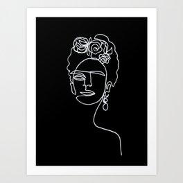 Frida Kahlo BW Art Print