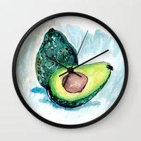avocado Wall Clocks featuring Avocado by Elena Sandovici