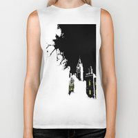 edinburgh Biker Tanks featuring Edinburgh by night by Slug Draws