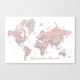 World map in dusty pink & grey watercolor, Adventure awaits Canvas Print
