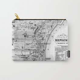 Vintage Map of Milwaukee Wisconsin (1878) BW Carry-All Pouch