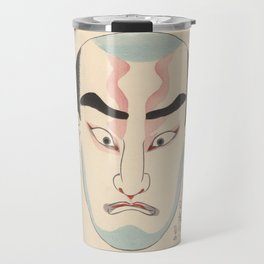 KABUKI Mask Traditional Make-Up Theatre Kanteiryu Blue Travel Mug