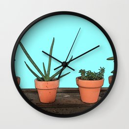 Succulents in Terracotta Wall Clock