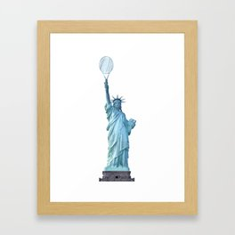 Statue of Liberty with Tennis Racquet Framed Art Print
