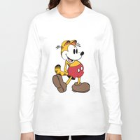 garfield Long Sleeve T-shirts featuring Mickey x Garfield  by Nicholas Hyde