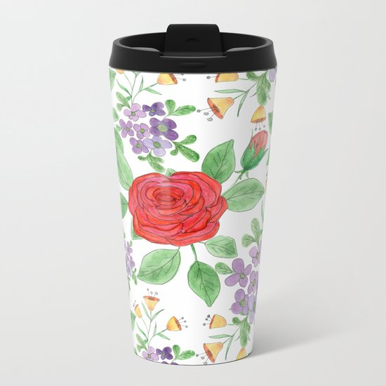 Watercolor floral pattern .8 Metal Travel Mug