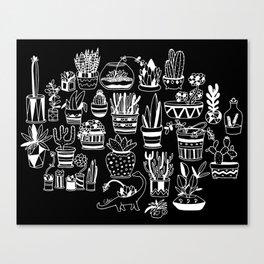 Succulent Party (Night Version) Canvas Print