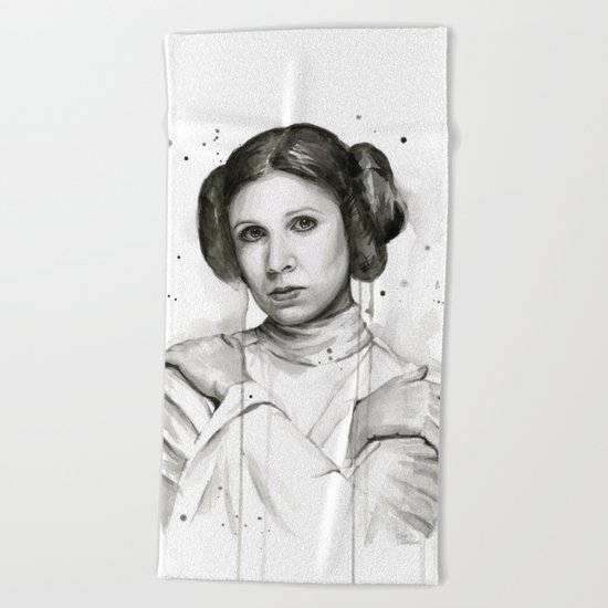 Princess Leia Watercolor Carrie Fisher Portrait Beach Towel
