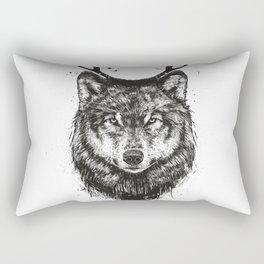 Deer wolf (b&w) Rectangular Pillow
