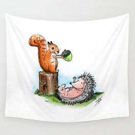 squirrel & hedgehog Wall Tapestry