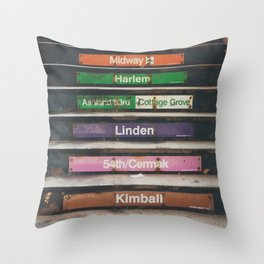 """riding the """"L"""" train in Chicago ... Throw Pillow"""