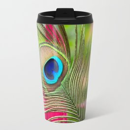 Peacock Feather in Nature Travel Mug