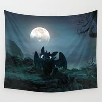daenerys targaryen Wall Tapestries featuring TOOTHLESS halloween by kattie flynn