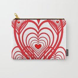 0PTICAL ART RED VALENTINES HEARTS IN HEARTS DESIGN Carry-All Pouch