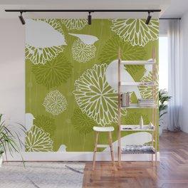 Pom Poms & Birds in Green by Friztin Wall Mural