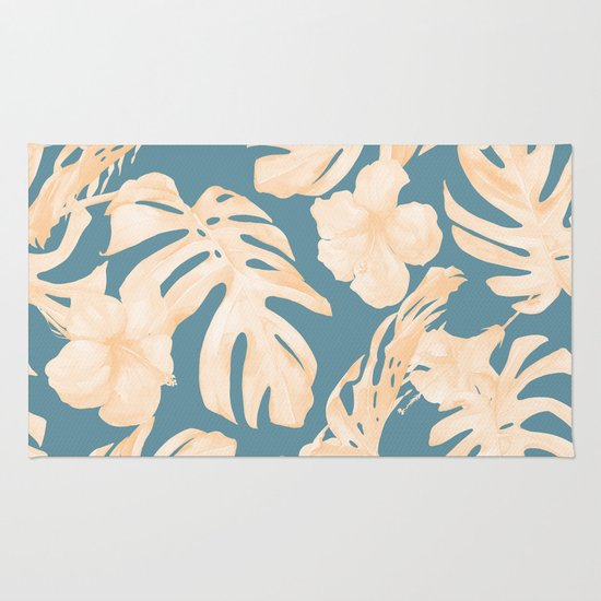 Island Vacay Hibiscus Palm Leaf Coral Teal Blue Rug By