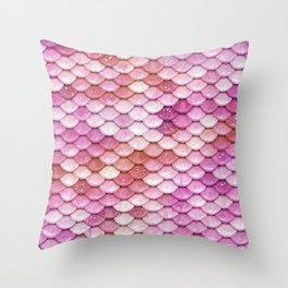 Multicolor pink mermaid glitter scales - Mermaidscales Throw Pillow