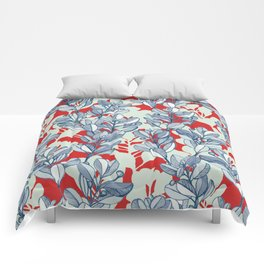 Leaf and Berry Sketch Pattern in Red and Blue Comforters