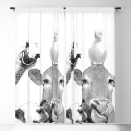 Black and White Farm Animal Friends Blackout Curtain