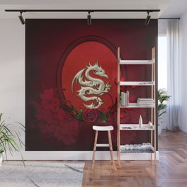 Chinese dragon with hearts Wall Mural