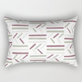 Linear Trouble // Basket Weave Design in pastel colours, red, beige, olive green  Rectangular Pillow