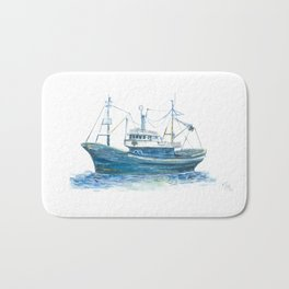 Blue boat Bath Mat