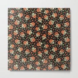 Wild Strawberry Field , Woodcut Style Fruit Pattern Illustration Red on Black Metal Print