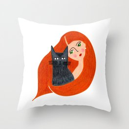 Besties. Crazy cat lady Throw Pillow