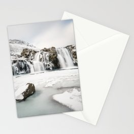 Waterfall in Iceland Winterland Stationery Cards