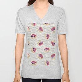 Vintage lavender pink ivory polka dots berries pie pattern Unisex V-Neck