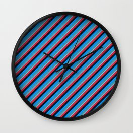 Blue Red Inclined Stripes Wall Clock