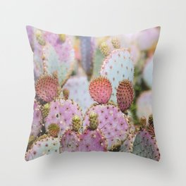 Cotton Candy Cacti Throw Pillow