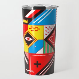 Vintage Abstract Art Colorful Geometric Shape Pattern with an Eye Travel Mug