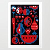fruits Art Prints featuring Fruits by Kingakong