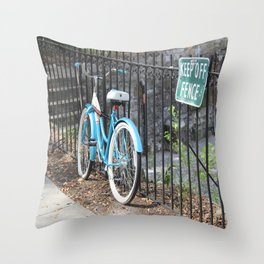 Bicycle Keep off Fence Throw Pillow